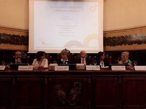 De izquierda a derecha, Santiago Moreno, María José Calvo Alcántara, Pilar de Lucas; Luis Amaro, Encarna Fernández y Conxita Tarruella